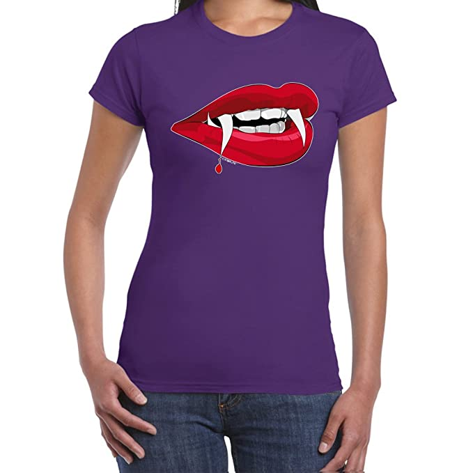 StarliteFunnyShirts - Camiseta-Vampire Lips-Camisetas divertidas para mujer, color Purple, talla