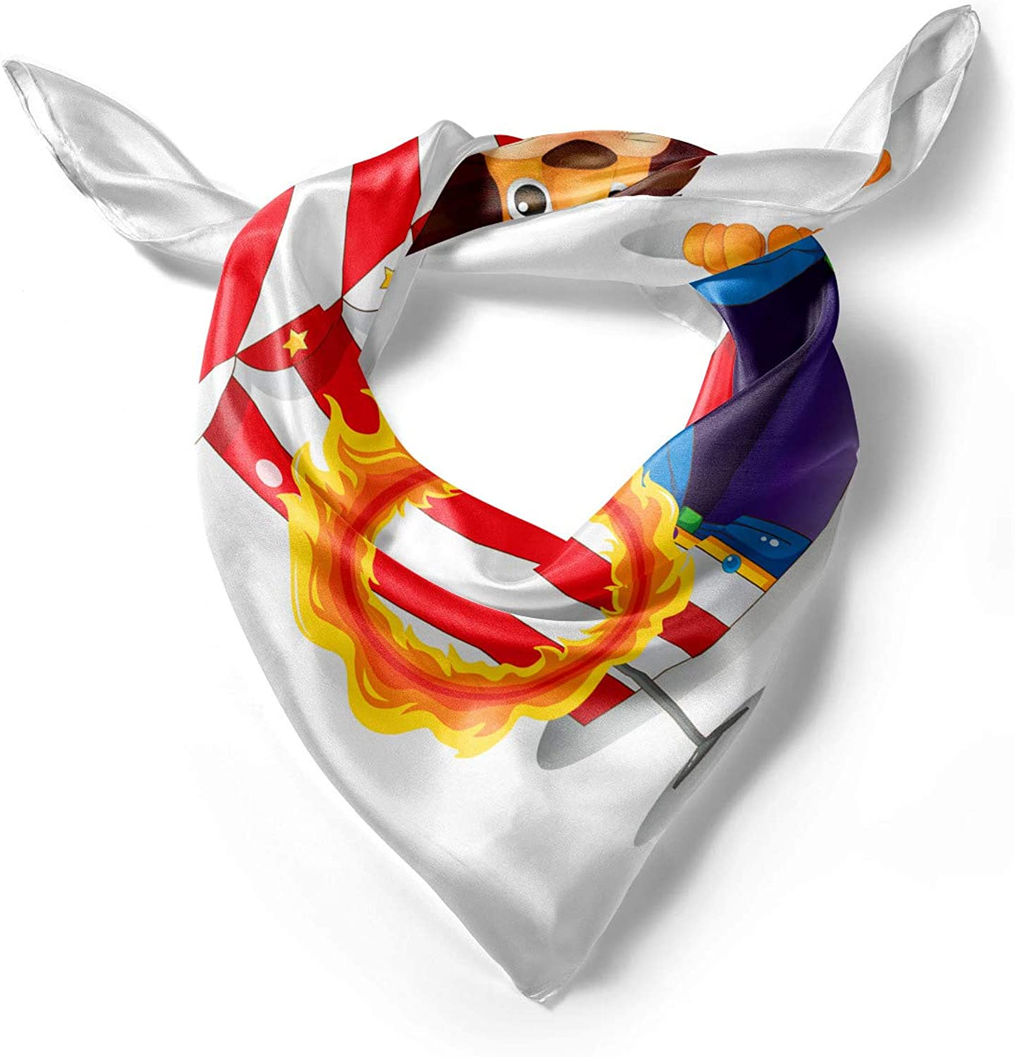 Hijab Scarf Lion and a Fire Ring Ambesonne Circus Headscarf