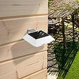 MaxFox 1 Pc Solar Power Solar Light,Motion Sensor Security Gutter Spot Hanging Wall LED Rechargeable Light Lamp for Home Garden Decor (White)