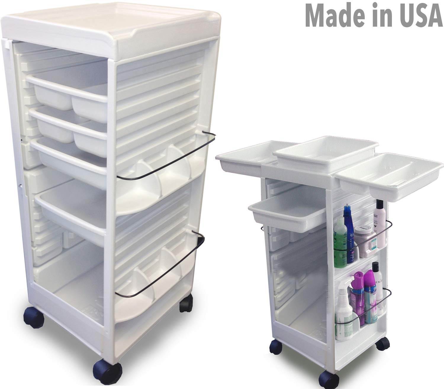 N20E Aesthetician Roll-About Facial Cart Trolley White Non Lockable Made in USA by Dina Meri by Dina Meri