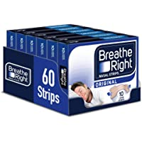Breathe Right Snoring Congestion Relief Nasal Strips, Large, Original, Pack of 6, Total 60 Strips