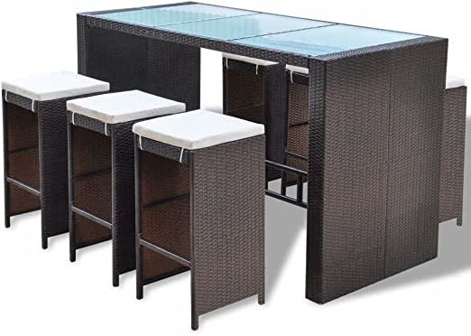 vidaXL Mesa y Sillas Altas para Jardín 7 Piezas con Cojines Poli Ratán Sintético Marrón Juego de Muebles de Bar de Exterior Patio Terraza Tipo Mimbre: Amazon.es: Jardín