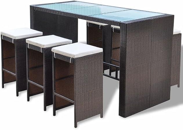 Barset Bartisch Stehtisch Barhocker Bar-Stuhl Set Rattan Polyrattan Sitzgruppe