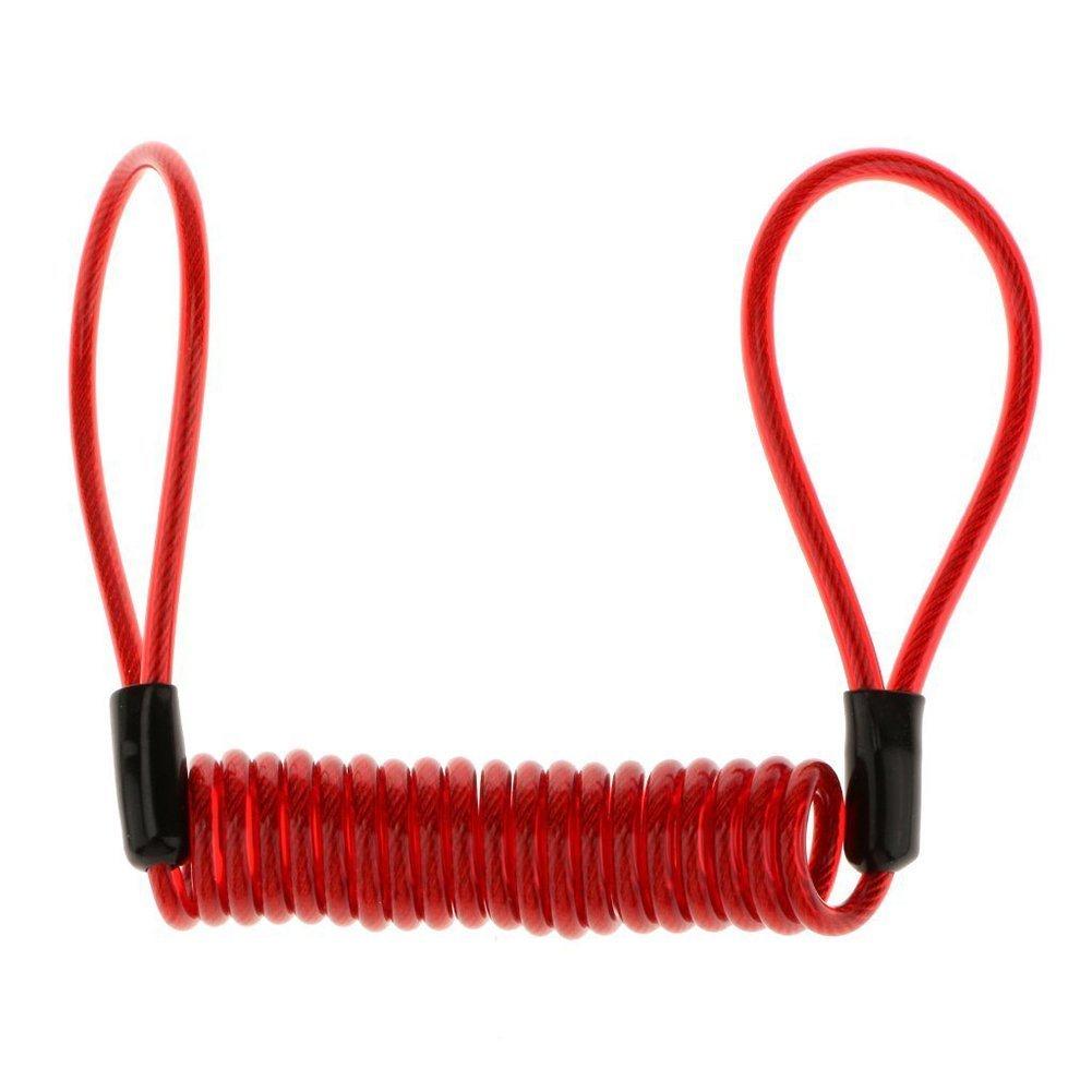 TOOGOO(R) Motorbike Helmet Bicycle Steel Wire Double End Loop Cable Lock Up Rope - Red rope 1.2M