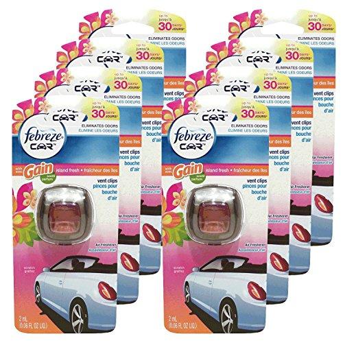 Febreze Car Vent Clips Air Freshener & Odor Eliminator, Gain Island Fresh Scent - 8Piece, Multicolor