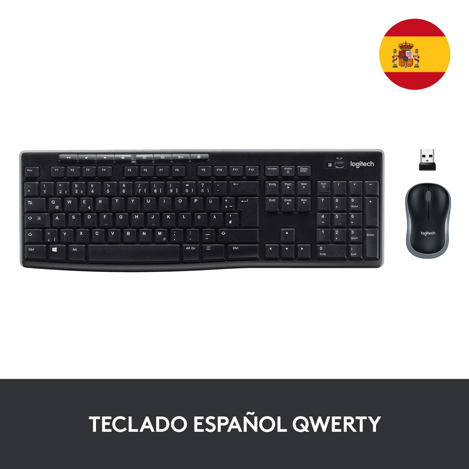 con Ricevitore Unifying Layout Spagnolo QWERTY Logitech MK270 Kit Tastiera e Mouse Wireless