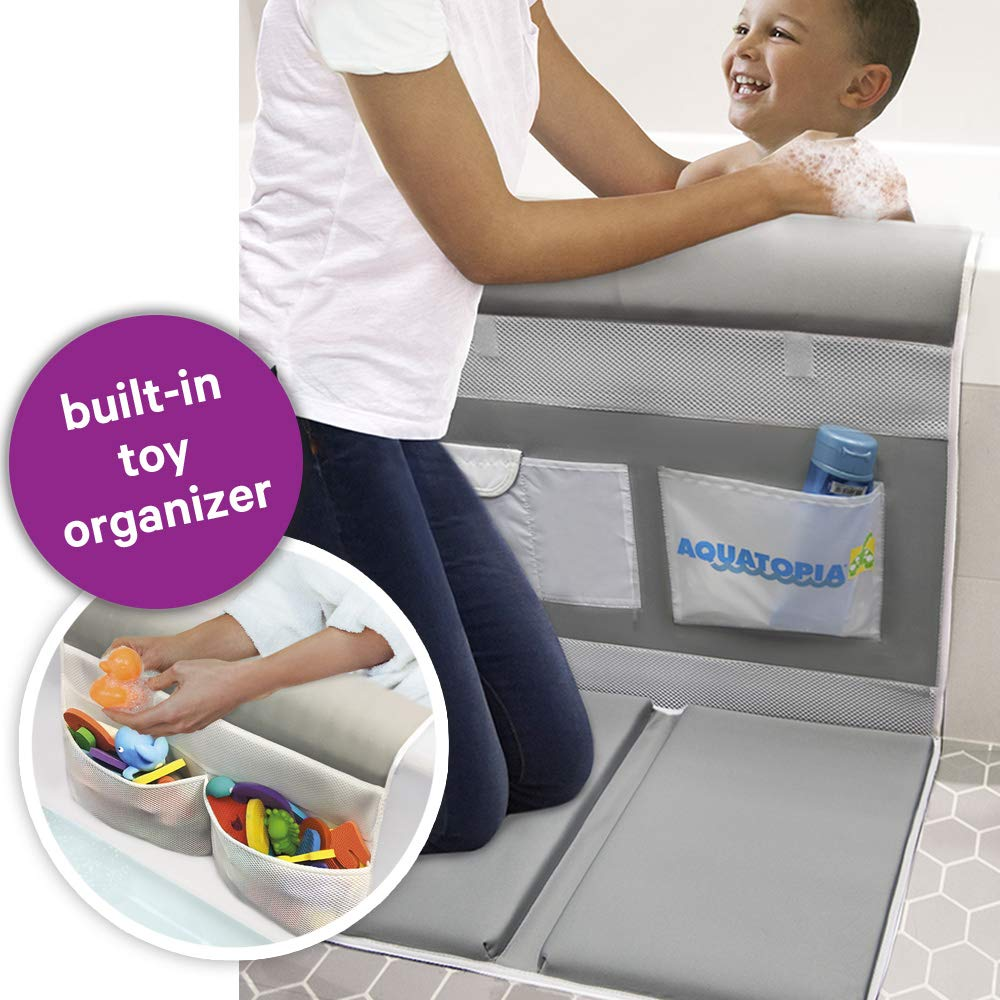 AQUATOPIA, Deluxe Safety Bath-Time Cushioned Easy Kneeler with Toy Organizer & Detachable Elbow Rest, Grey