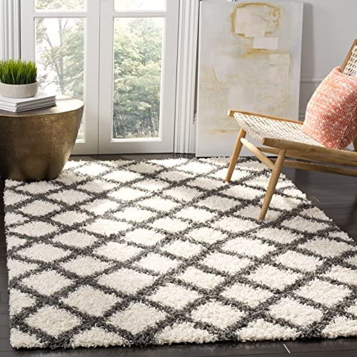 Safavieh Dallas Shag Collection SGDS258H Ivory and Grey Area Rug 8 6 x 12