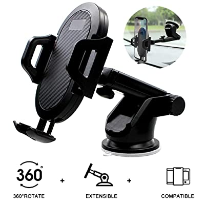 Car Mount for Cell Phone Dashboard Windshield Smartphone Holder Stand Black Compatible iPhone 11 Pro XS Max X XR 8 Plus Samsung Galaxy S20 S10 S9 S8 Note 10 9 and More