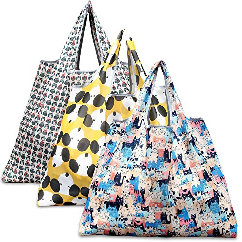 Reusable Grocery Bags, Eco Friendly Foldable Shopping Bags Large Heavy Duty Tote Bags (3 Pack, Dog, Cat, Owl)