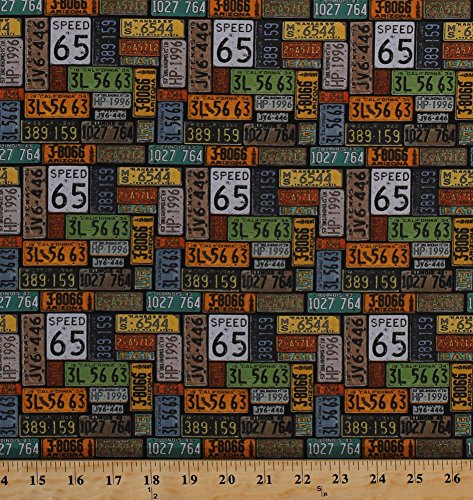 Cotton License Plates United States Travel Transportation Driving Road Trip Roadtrip Speed Limit Signs American Dream Vintage Cotton Fabric Print by the Yard (8737-099black)