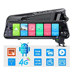Car Dash Cam for Android 8.1 9.66 Inch Dash Cam Dual Video Recording 1080P Lens RAM2G ROM16G GPS Navigation Driving Recorder ADAS WiFi