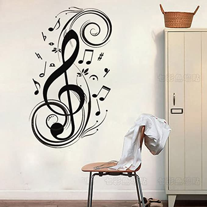 FA KE/_ Removable Music Notes Notation Band Sticker Home Decor Wall Sticker Natu