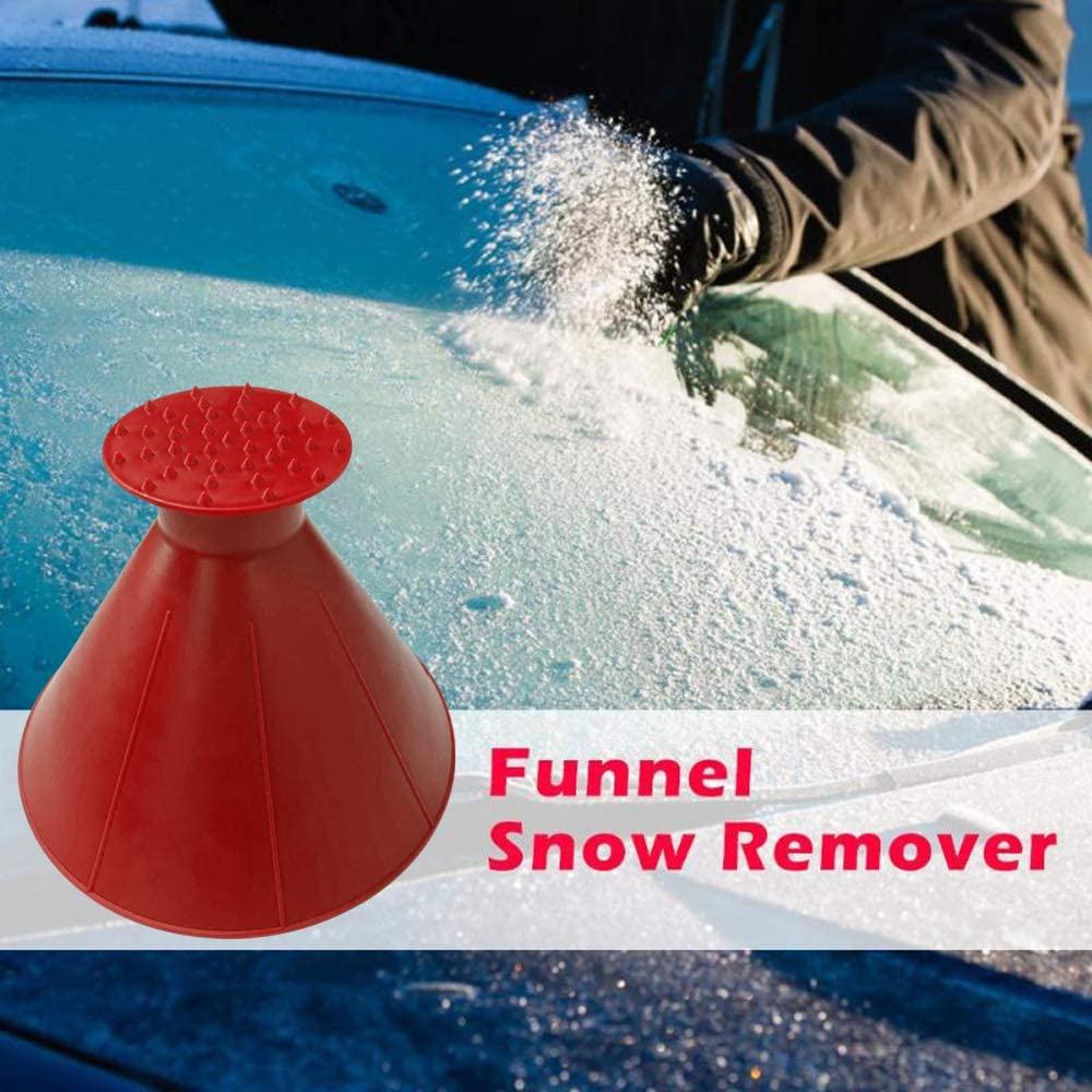 Novsix Cone-Shaped Round Windshield Ice Scraper Car Windshield Snow Removal Wiper Multifunction Car Snow Removal Shovel Funnel Tool as Gift 2 PCS