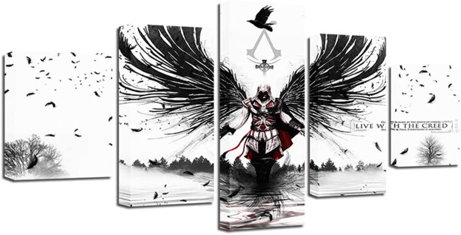 Jxkef 3d Anime Background Painting Assassin S Creed 5 Piece Set Of Printed Gifts Craft Home Wall Office Living Room Bedroom S Amazon Co Uk Kitchen Home