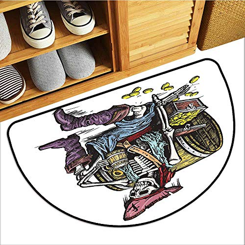 Axbkl Thin Door mat Pirate Skeleton Pirate Holding Mug of Beer Treasure Chest Gold Freebooter Sailor Corsair Hard and wear Resistant W24 xL16 Multicolor