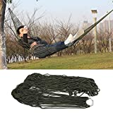 Sleeping Bed Outdoor Travel Camping Hammock Garden Portable Nylon Hang Mesh Net. (Army Green)