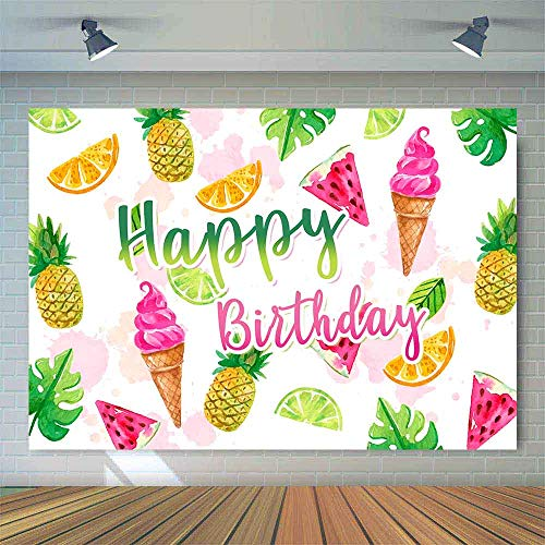 Allenjoy Smmer Tropical Fruits Theme Backdrop 7x5ft for Kids Happy Birthday Party Table Decoration Banner Pineapple Watermelon Orange Fruit Ice Cream Background Photo Booth Props