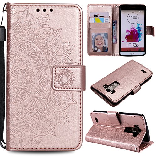 NEXCURIO [Embossed Flower] LG G3 Wallet Case with Card Holder Folding Kickstand Leather Case Flip Cover for LG G3 - NEHHA11000 Rose Gold (Lg G3 Replacement Screen Gold)