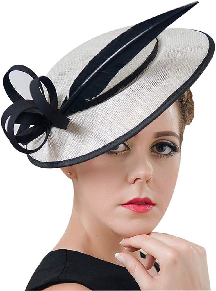 ORIDOOR Women Sinamay Fascinators Hat Derby Church Tea Party Wedding Bridal Flower Feathers Fascinator with Headband