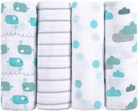 Muselinas para bebés de emma & noah, paquete de 4, 100% algodón ...
