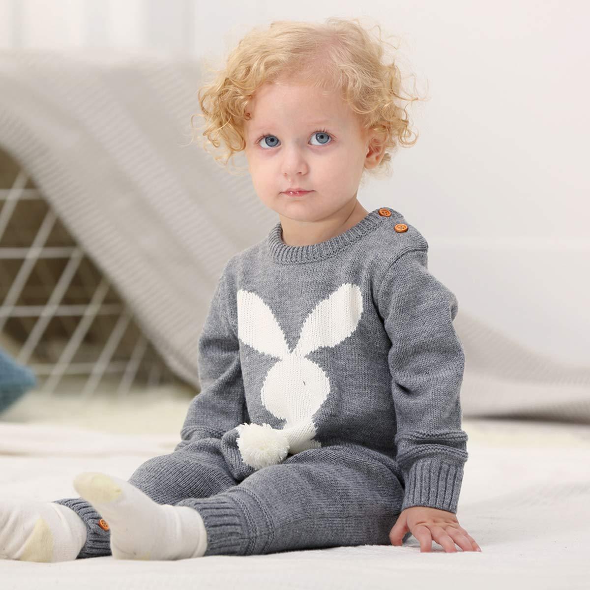 Newborn Baby Romper Knitting Buttom Rabbit Unisex Baby Sweater Jumpsuit