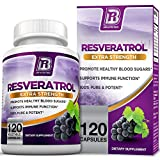 BRI Nutrition Resveratrol - Natural Antioxidant Supplement for Cardiovascular & Immune System Health & Promotes Well-Being/Healthy Brain Function - 1200mg Maximum Strength Veggie Capsules, 120 Count