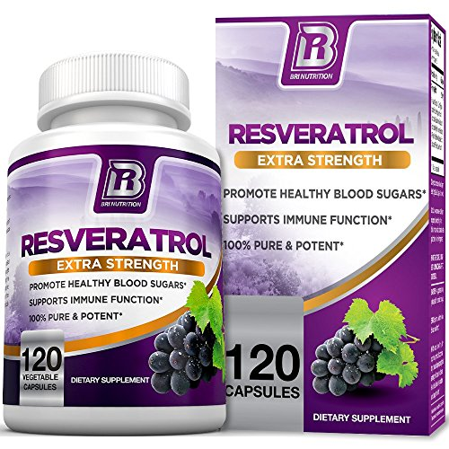 BRI Nutrition Resveratrol – Natural Antioxidant Supplement for Cardiovascular & Immune System Health & Promotes Well-Being/Healthy Brain Function – 1200mg Maximum Strength Veggie Capsules, 120 Count