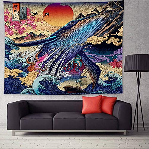 Willing Life Ocean Wave Tapestry Japanese Ink Painting Whale Tapestry Animal Wall Hanging for Home Room Decoration Wall Art Housewarming Gift Large/80 X60