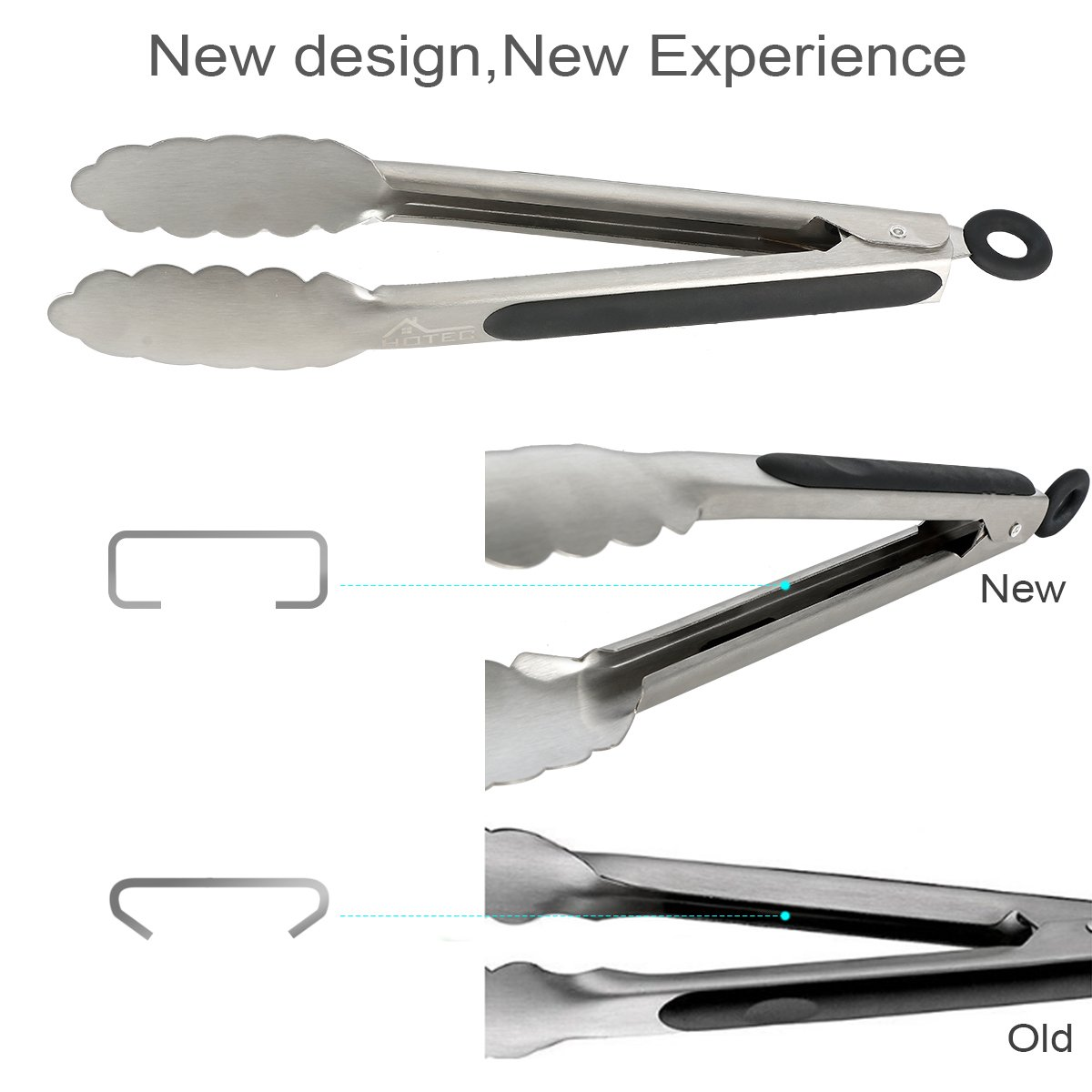 Hotec Stainless Steel Kitchen Tongs Set of 2 - 9'' and 12'', Locking Metal Food Tongs Non-Slip Grip by Hotec (Image #3)