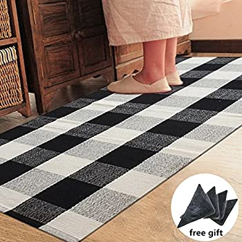 Amazon Com Ustide 100 Cotton Rugs Black White Checkered