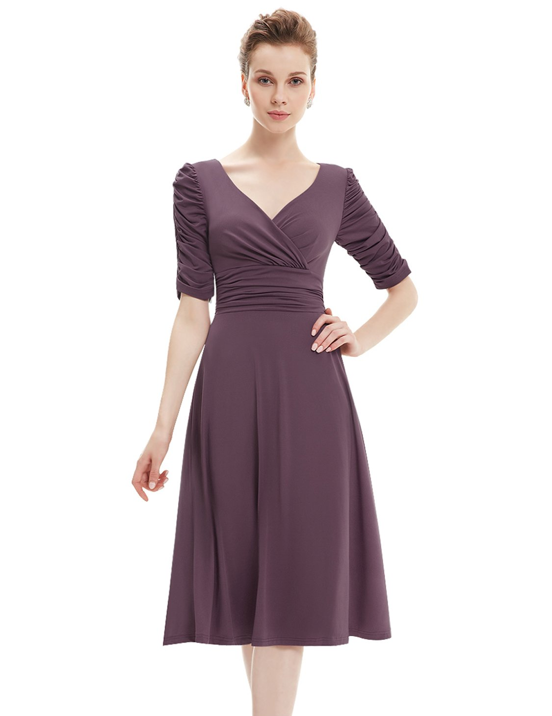 Ever Pretty 3/4 Sleeve Ruched Waist Classy V-Neck Casual Cocktail Dress 03632