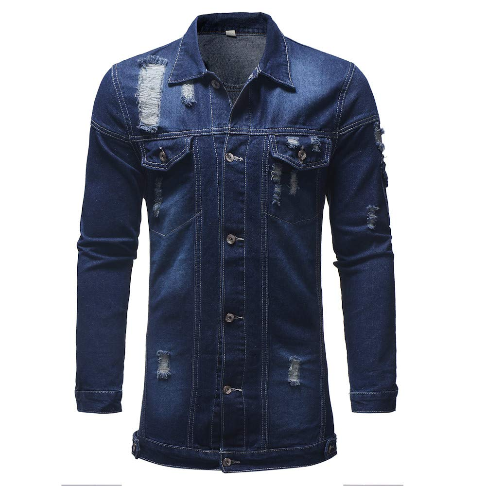 Coats for Men with Patches LULUZANM Mens Autumn Winter Casual Vintage Wash Distressed Denim Jacket Coat Top Blouse (L, Dark Blue) - - Amazon.com
