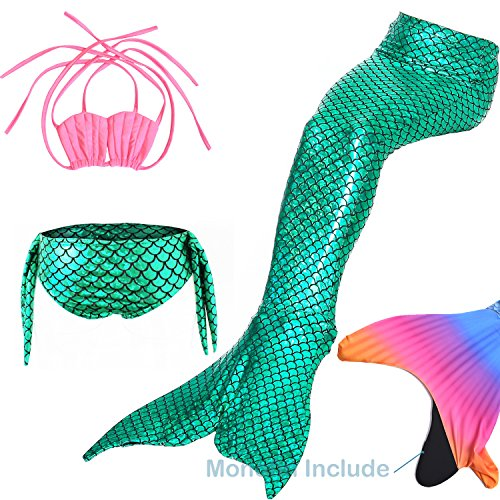 DOTOFIN Mermaid Tails, Swimsuit with Fin, Swimming Costume, Swimwear with Monofin, Girls Swimmable Mermaid Tail Swimsuit Green
