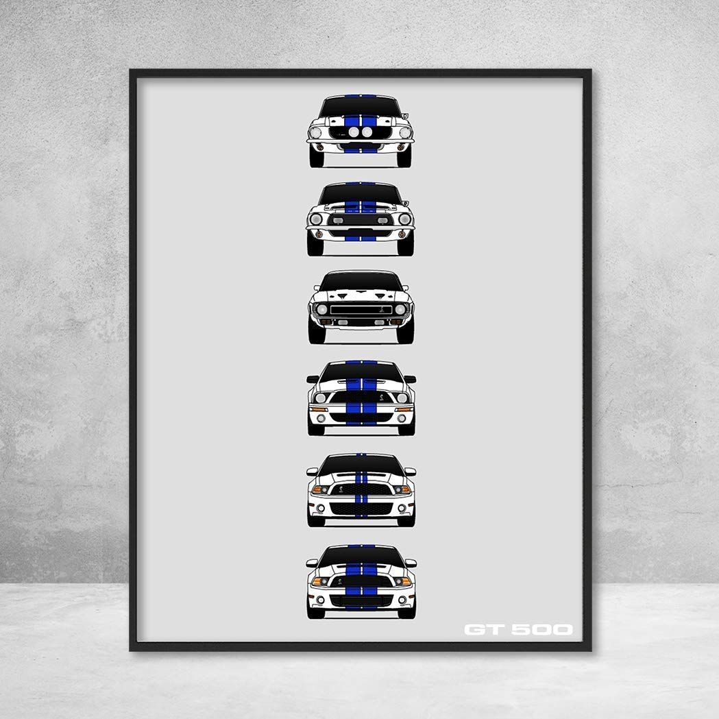 Amazon com shelby mustang gt500 generations poster print wall art of the history and evolution of the ford shelby gt500 white car blue stripes handmade