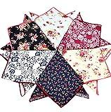UQ Mens Cotton Floral Pocket Square 24*24cm Suits Hankies Pack Bulk