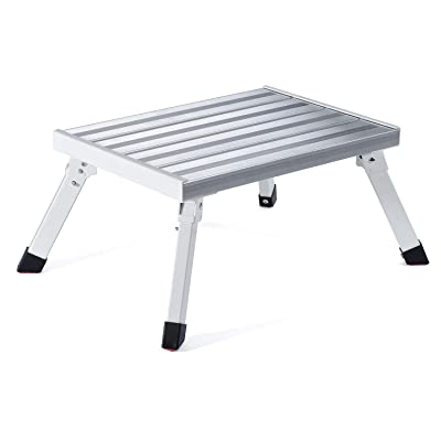 "ACSTEP Wheels Safety RV Steps 17"" x 12"" RV Step Stool Aluminum Folding Platform Step with Non-Slip Durable Feet, Reflective Stripe, RV T Level More Stable Supports Up to 1000 lbs: Kitchen & Dining"