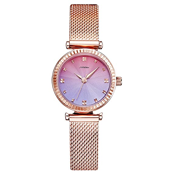 Mode Ultra Sim Quarz Damen Uhren Rosegold Mesh Band Damen Marken