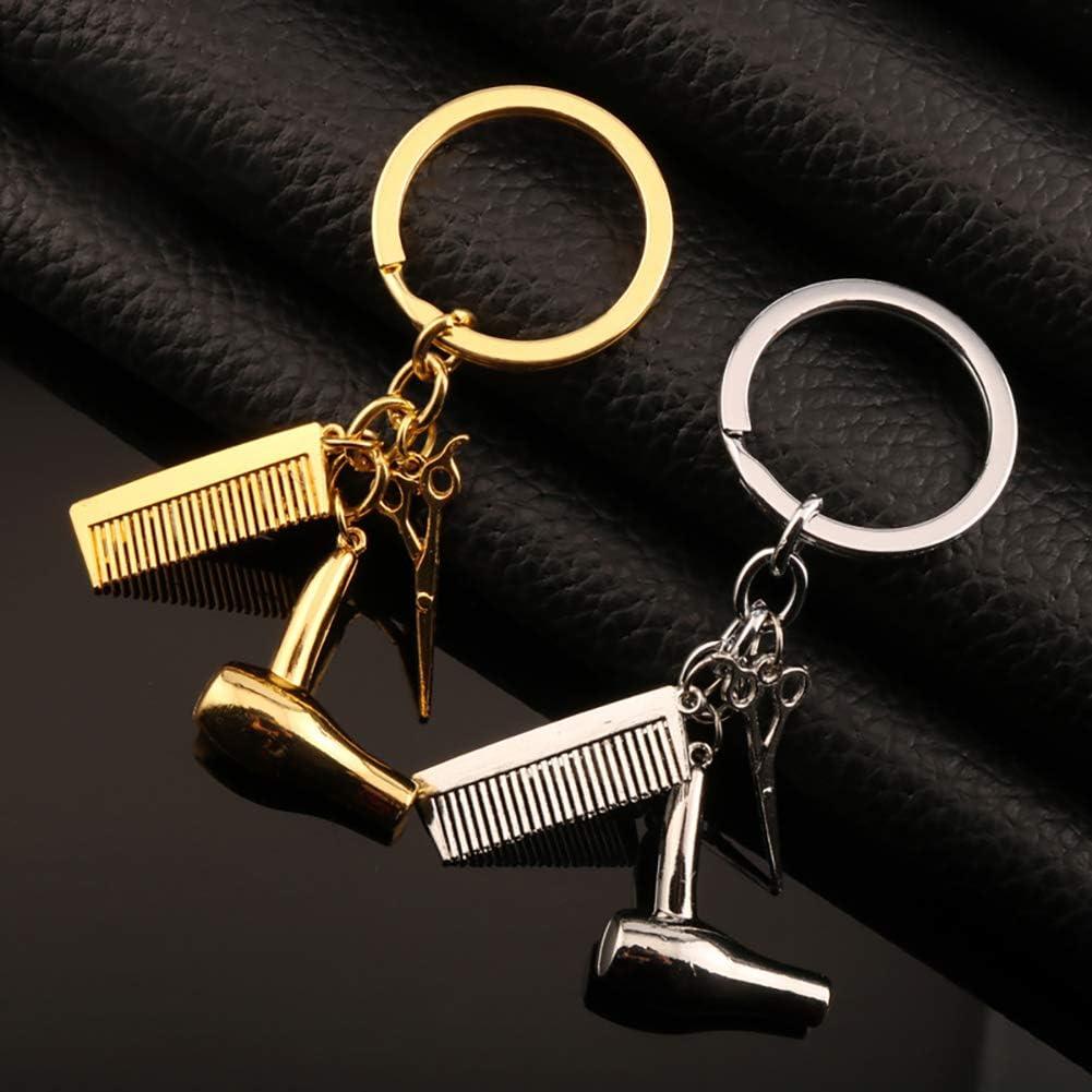Gold Newin Star Keychain cr/éatif 3 en 1 Coiffeur S/èche-Cheveux Scissor Peigne Charm Pendentif Porte-Cadeau Parfait pour Salon Coiffeuse