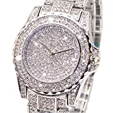 Luxury Women Watch Bling Bling Fashion Jewelry Crystal Diamond Rhinestone Ladies Watches Steel Band Round Dial Analog Clock Classic Quartz Female Charm Bracelet Dress Wristwatches Gift Ideas