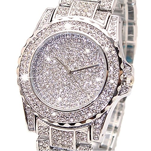 Luxury Women Watch Bling Bling Fashion Jewelry Crystal Diamond Rhinestone Ladies Watches Steel Band Round Dial Analog Clock Classic Quartz Female Charm Bracelet Dress Wristwatches Gift Ideas (Womens Watch Crystal Dress)