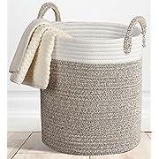 Storage Baskets Large Terracotta Woven Basket, 15 x 13  Cotton Rope Decorative Baskets for Towel, Laundry, Magzine, Gift Basket