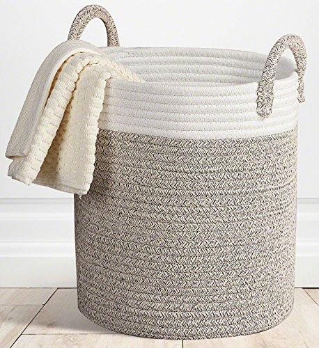 "Storage Baskets Large Terracotta Woven Basket, 15""x 13"" Cotton Rope Decorative Baskets for Towel, Laundry, Magzine, Gift Basket"