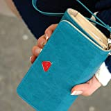 Women's Fashion Envelope Wallet Purse Phone Case for iPhone 4 4S 5 5S 5C Samsung Galaxy S2 (Blue)