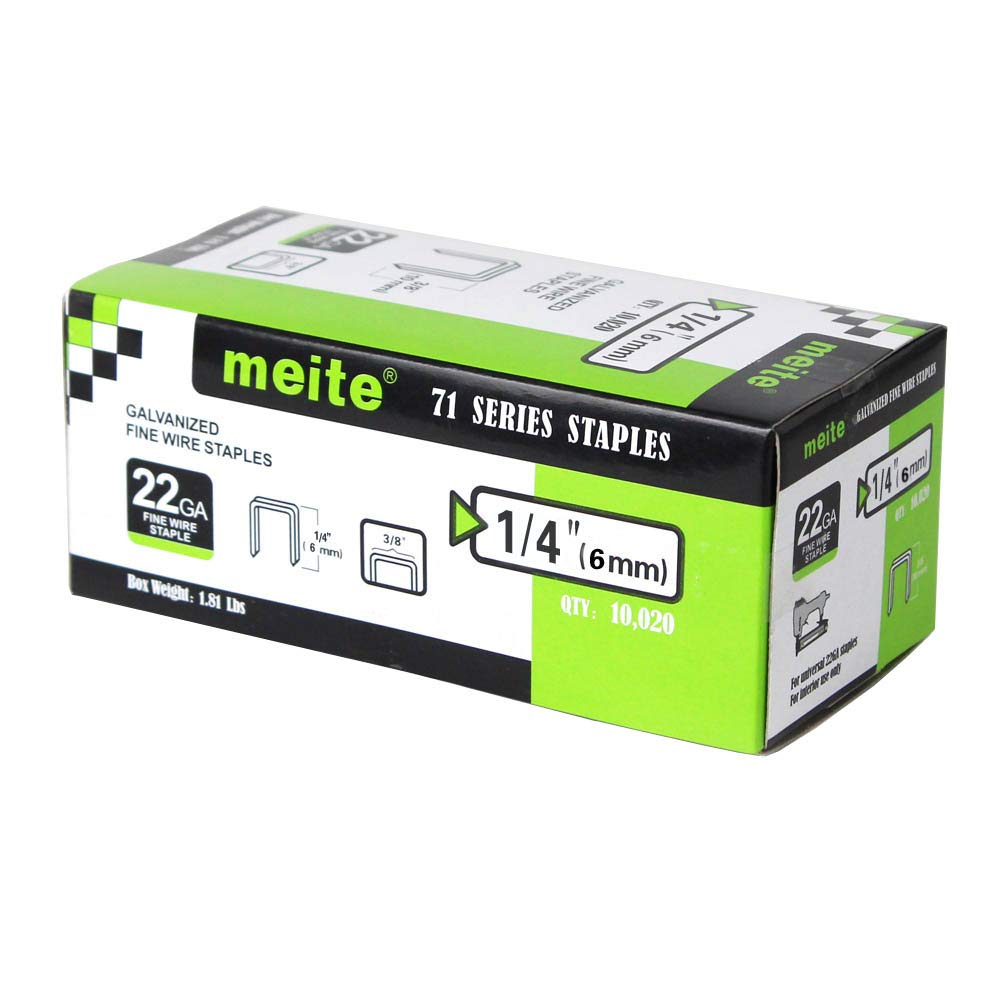 meite 22G71S14 22 Gauge 71 Series 3/8-Inch Crown or C-Crown 1/4-Inch Leg Length Galvanized Fine Wire Staples(10020pcs/Box)