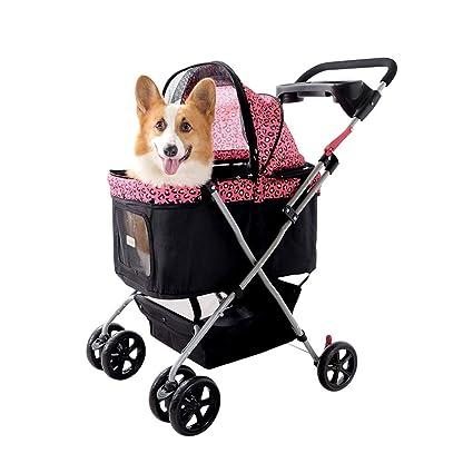 GWM Carrito para mascotas Carrito de cuatro ruedas Gatos Perros Carrito de transporte, Silla de
