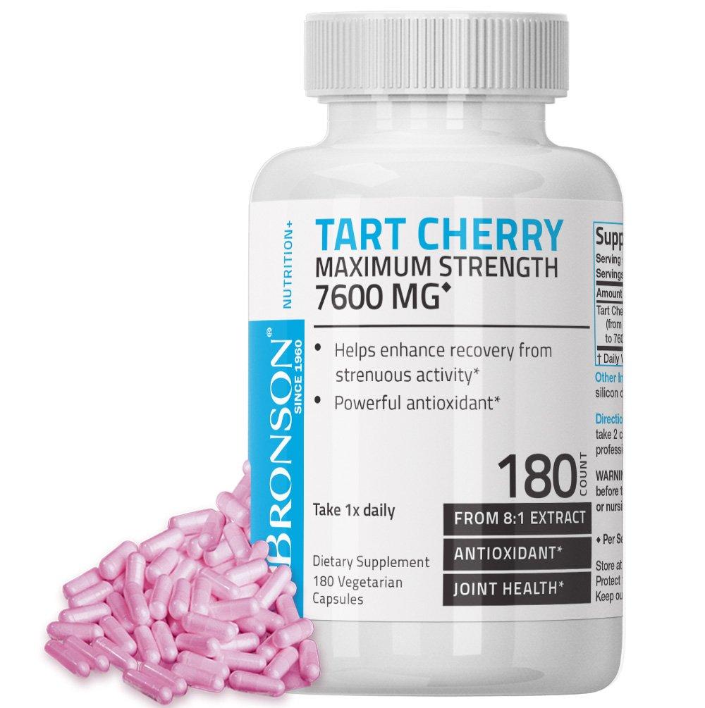 Bronson Tart Cherry Maximum Strength 7600 mg, 180 Vegetarian Capsules (90 Servings)