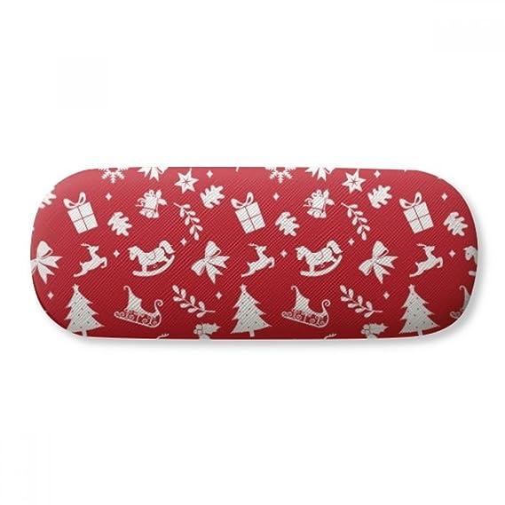 Christmas Tree Red Festival Glasses Case Eyeglasses Clam Shell Holder Storage Box