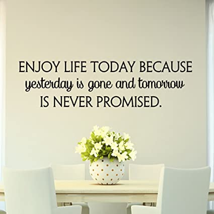 Life Quotes Wall Decals Enjoy Life Today Because Yesterday Is Gone Adorable Today Quotes About Life