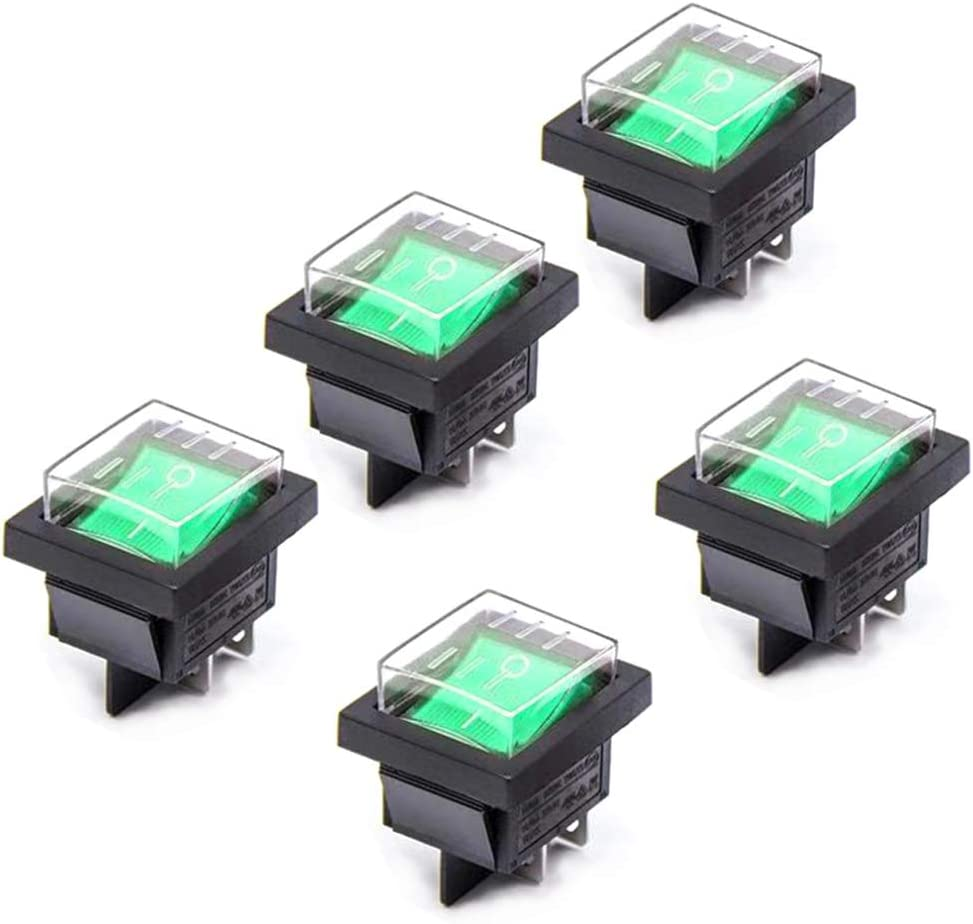 Her Kindness 5 Pcs ON-OFF Boat Rocker Switch DPST 4 Pin Green light AC 250V 15A 125V 20A with Waterproof Cover